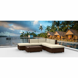 Urban Furnishing Brown Series 6a Modern Outdoor Rattan Wicker Sectional Sofa Set