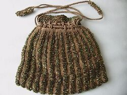 Antique Art Deco Brown Knit Crochet Copper Bead Handle Drawstring Flapper Purse