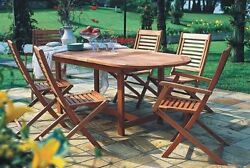 Patio Dining Set 7 Piece Outdoor Wood Removeable Leaf Table Folding Chairs NEW