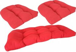 Patio Furniture Cushions for Wicker Chairs Settee 3 Piece Set Tufted Outdoor New