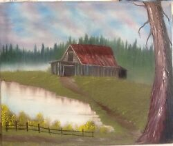 Old oil farm painting with rustic barn and pond $500.00