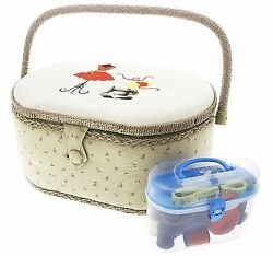 Vintage Sewing Basket Organizer Box Kit with Hand Sewing Supplies and Notions...