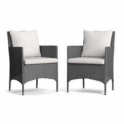 Outdoor Arm Chairs Indoor Wicker Chair Brown Patio Furniture Grey Deep Cushion