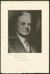 HERBERT HOOVER - INSCRIBED PHOTOGRAPH MOUNT SIGNED