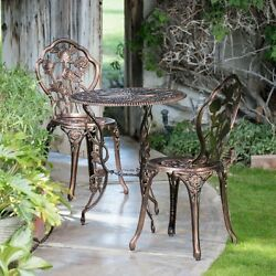 Bistro Table and Chairs Set Wrought Iron Patio Furniture 3 Pieces Garden Outdoor