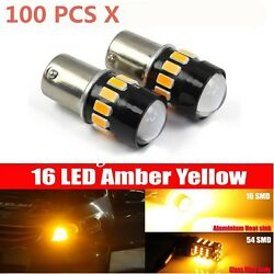 100PCs 1156 5630 Chip High Power LED Amber Yellow Front Turn Signal Light Bulbs