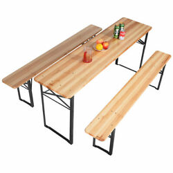 3 PCS Beer Table Bench Set Folding Wooden Top Picnic Table Patio