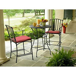 Patio High Bistro 3 Piece Set Outdoor Iron Table 2 Chairs Garden Red Cushions