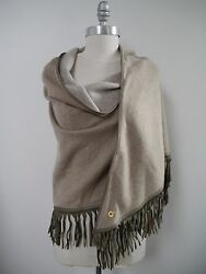 NEW LORO PIANA $3550 Stola Oval BABY CASHMERE leather fringe trim scarf shawl