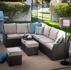All Weather Wicker Furniture Patio Sofa Sectional Conversation Set 3 Ottomans