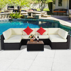 2017 7PC Outdoor Patio Furniture Wicker Rattan Sofa Set Poly Wood Table Brown