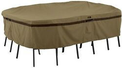 Patio Table Chair Set Cover Hickory Medium Rectangular Oval Click-close Straps