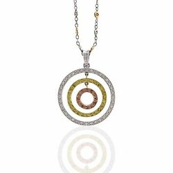 Pink Yellow and White Diamond Necklace in Platinum and 18K Yellow Gold  FJ