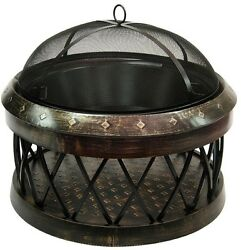 LANDMANN Bartow 33 in. Fire Pit Steel Large Spark Screen Antique Bronze