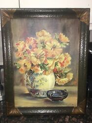 Gorgeous 1920s-1930s Art Deco Picture Frame Includes Signed Oil: Copper Plated?