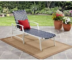 Patio Pool Chaise Lounge Chair Outdoor Furniture Metal Frame Strap Blue Seat