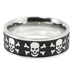 8mm Skull Band Ring Black Epoxy and Stainless Steel Sizes 11 12 13 14