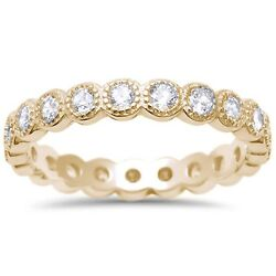 Yellow Gold Plated CZ Antique Bezel Eternity Stackable Sterling Silver Ring