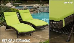 Outdoor Lounge Chair Cushion Set 2 Waterproof Chaise Pads Green Patio Sunbed Dec