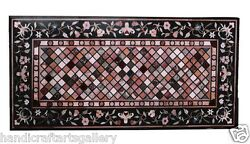 2.5'x4.5' Marble Dining Side Table Top Pietradure Inlaid Marquetry Patio Decor