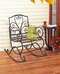 Outdoor Metal Scrolled Porch Lawn Wide Lounger Rocker Chair Patio Seat Furniture