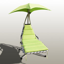 Hanging Chaise Lounge Chair Hammock Canopy Green Arc Stand Patio Furniture