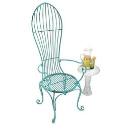 Retro Modern Powder Coated Metal Balloon Style Garden Porch Poolside Arm Chair