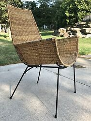 Mid Century Unique Danny Ho Fong Iron And Rattan Lounge Chair