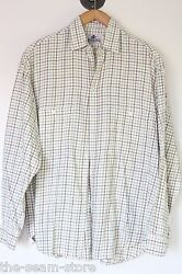 Peter Hadley Cotton Wool Flannel Shirt 16.5 Tattersall Check Beige Red Green Use