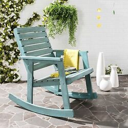 Blue Outdoor Home Garden Porch Patio Pool Deck Wood Rocker Rocking Chair Seat