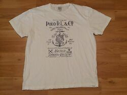 POLO RALPH LAUREN T SHIRT MENS LARGE WHITE BLUE NAVAL TAILORS NAUTICAL SUPPLIES