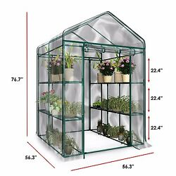 Walk in Greenhouse with clear cover 12 shelves stands 3 tier racks