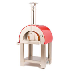 Red Insulated Forninox Brick Hearth Outdoor Bread Baking Pizza Oven Wood Fired