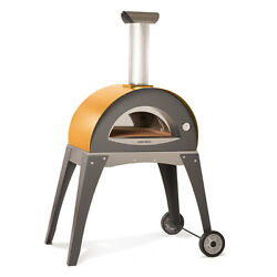 Yellow Insulated Forninox Brick Hearth Outdoor Yard Bread Pizza Oven Wood Fired