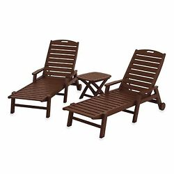 3 Piece Set Mahogany Nautical Chaise Outdoor Patio Lounge Drinks Snacks Table
