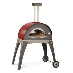 Red Forninox Brick Hearth Insulated Outdoor Bread Baking Pizza Oven Wood Fired