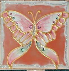 Pink Butterfly Night Light Wall Plug In Decor Artisan Made Gift Stain Art Glass