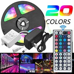 5M RGB 5050 Waterproof LED Strip light SMD 44 Key Remote 12V US Power Full Kit $19.95