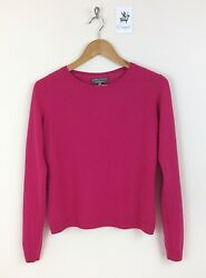 Cashmere Jumper LAURA ASHLEY Size Small  Deep Pink 8 Pure Cashmere Button Back
