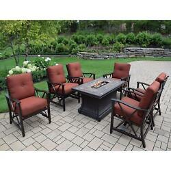 Cascadian 7-piece Red Lava Rock Gas Firepit Table Chat Set with 6 Cushioned