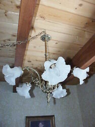 ANTIQUE CHANDELIER FRENCH BRASS LIGHT FIXTURE $500.00