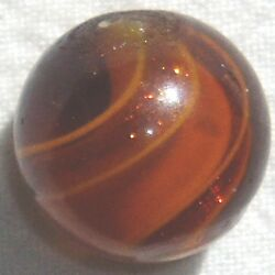 DC: Rare Antique Handmade Marble Ribbon Lutz in Amber Glass Near Mint $595.00