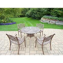 5 Piece Grand Dakota Dining Set with 42 inch Round Table and 4 Chairs