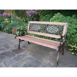 Oakland Living Cast AluminumIron With Wood Garden Bench