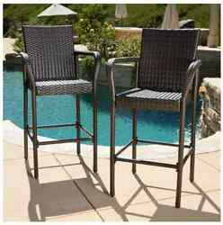 Bar Height Patio Furniture Deck Chair Set Wicker Outdoor Barstools Pool Brown