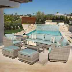 RST Brands Cannes Outdoor Grey PE Wicker 8-piece Sofa Club Chair and Ottomans