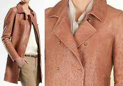 $10000 GUCCI 6 42 Runway Ostrich Trench Coat Jacket Leather Women Lady ITALY B