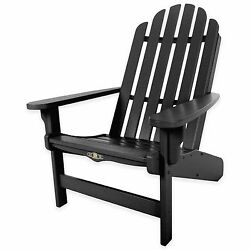 Black Essential Adirondack Chair Outdoor Home Garden Porch Poolside Ocean Lounge