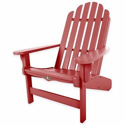 Red Durawood Essential Outdoor Backyard Porch Deck Adirondack Chair Beach Lounge