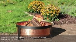 Firebowls Solid Hammered Copper Outdoor Wood Burning Fire Pit Kit with Screen